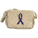 Christmas Lights Ribbon Colon Cancer Messenger Bag
