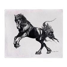 Keegan, Friesian Stallion Throw Blanket