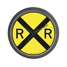 Yellow RR X-ing Wall Clock