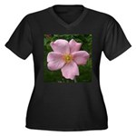 .light pink rose. Women's Plus Size V-Neck Dark T-