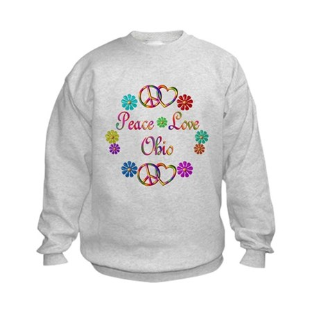 Peace Love Ohio Kids Sweatshirt
