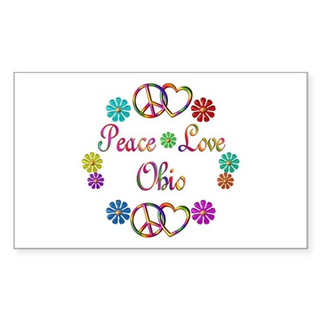 Peace Love Ohio Sticker (Rectangle)