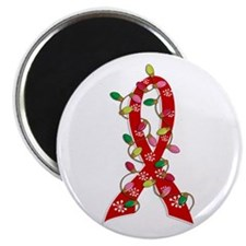 "Christmas Lights Ribbon Heart Disease 2.25"" Magnet"