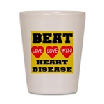 Live Love Win Beat Heart Dise Shot Glass