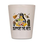 Support The Arts Cute Penguin Shot Glass