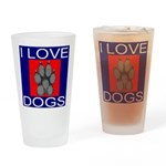 I Love Dogs Drinking Glass