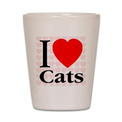 I Love Cats Shot Glass
