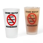 Crime Watch Neighborhood Drinking Glass