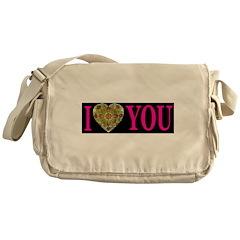 I Love You Silk Heart Sinful Messenger Bag