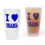 I Love Obama Patriotic Blue Drinking Glass
