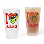 I Love Artists Drinking Glass