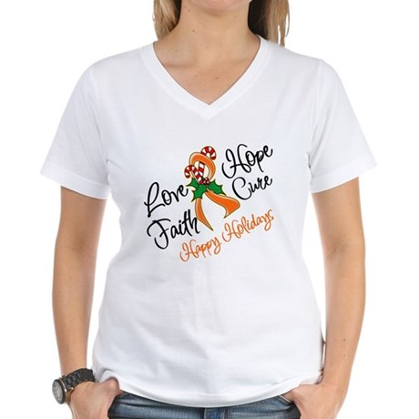 Holiday Hope Kidney Cancer Women's V-Neck T-Shirt