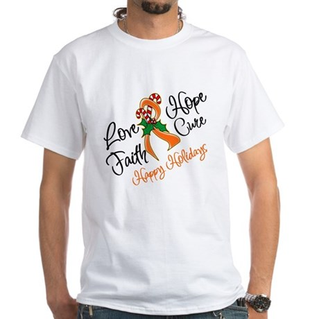 Holiday Hope Kidney Cancer White T-Shirt