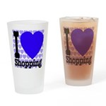 I Love Shopping Blue Drinking Glass