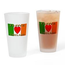 I Love Ireland Heart Flag Drinking Glass