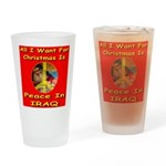 Santa Clause Peace Symbol Drinking Glass