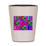 Love Rays Peace 9 Blocks Cyan Shot Glass