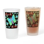 Peace & Love Neon Swallowtail Drinking Glass
