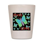 Peace & Love Neon Swallowtail Shot Glass