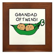 Grandad of Twins Pod Framed Tile