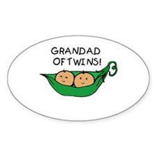 Grandad of Twins Pod Oval Decal
