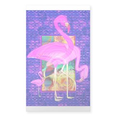 Pink Flamingos Shells and Hib Sticker (Rectangle)