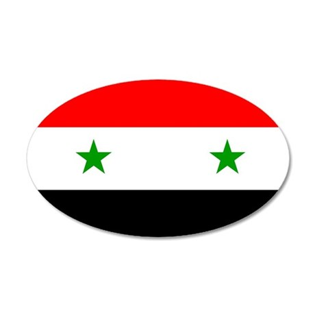 Flag of Syria 38.5 x 24.5 Oval Wall Peel