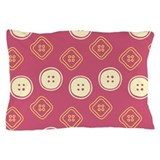Polka Buttons Red Pillow Case