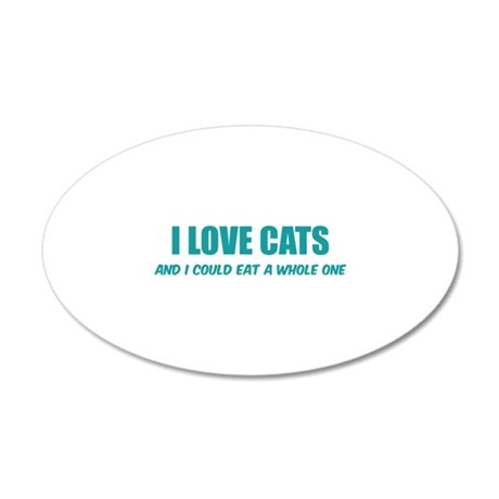 I love cats 38.5 x 24.5 Oval Wall Peel