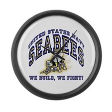 US Navy Seabees Blue and Gold Large Wall Clock