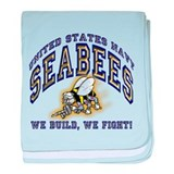 US Navy Seabees Blue and Gold baby blanket