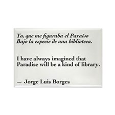 Borges library quote-Bilingual Rectangle Magnet (1