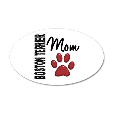 Boston Terrier Mom 2 22x14 Oval Wall Peel