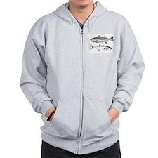 Striper Bass and Bluefish Zip Hoodie