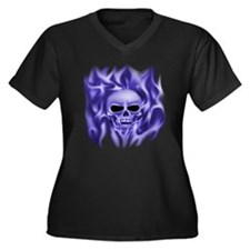 Plus Size V-Neck Dark T-Shirt, blue skull