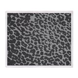 Gray Leopard Print Throw Blanket