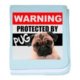 Protected by Pug baby blanket