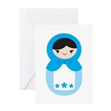 Matryoshka - Blue Greeting Card