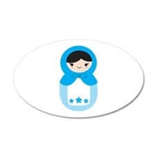Matryoshka - Blue 22x14 Oval Wall Peel