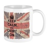 UK Flag with Keep Calm and Ca Coffee Mug
