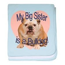 Bulldog Sister baby blanket