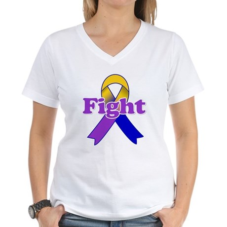 Fight Bladder Cancer Women's V-Neck T-Shirt