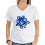 Dark Blue Bow Women's V-Neck T-Shirt