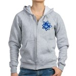 Dark Blue Bow Women's Zip Hoodie