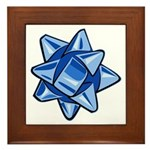 Dark Blue Bow Framed Tile