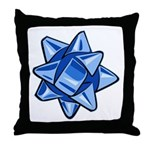 Dark Blue Bow Throw Pillow