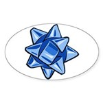 Dark Blue Bow Oval Sticker (10 pack)