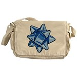 Dark Blue Bow Canvas Messenger Bag