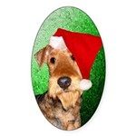 Airedale Terrier Christmas Sticker (Oval)