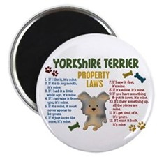 "Yorkshire Terrier Property Laws 4 2.25"" Magnet (10"